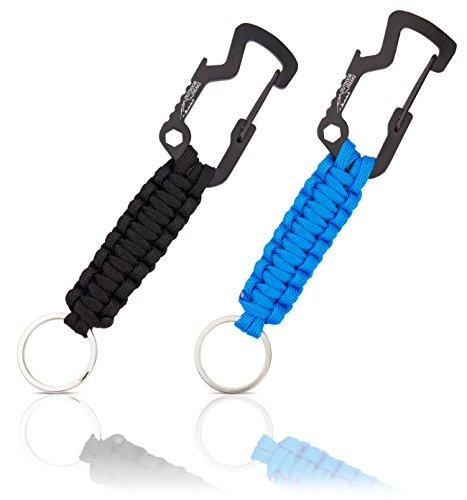 OUTDOOR FREAKZ Paracord Schlüsselanhänger mit Flaschenöffner (schwarz - blau)