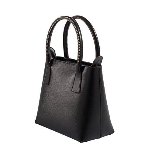Tilla...Le Borse , sac à main femme nero manico borchiato