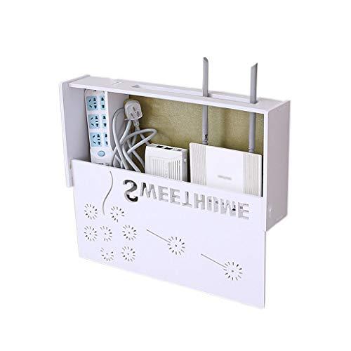 YYQXR WiFi Router Regal Blow Free Loch Wandmontage Set-top Aufbewahrungsbox Rack Wandbehang Router Dekorative Box (Farbe : Weiß) -