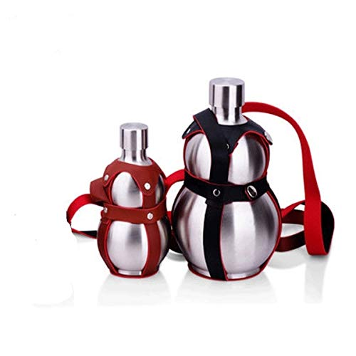 KPPTO Brocca di Zucca in Acciaio Inox 304, Bottiglia Portatile, Vino all'aperto, Regali creativi, brocca Grande Beautiful Life (Color : Silver, Size : 250ml)