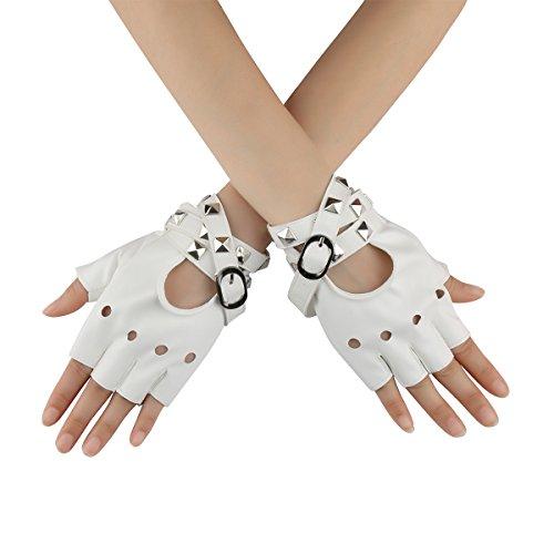 uhe Armband mit Nieten Halbfinger aus Kunstleder Kostüm Zubehör Rock Gothic Stil (Weiss) (Punk Rock Kostüm Junge)