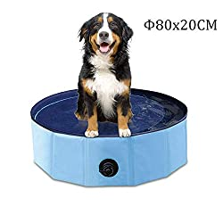YAOBLUESEA Hunde Planschbecken, 80x20CM PVC Hundepool Doggy Pool Faltbarer Badewanne Pool-Klein/Blau