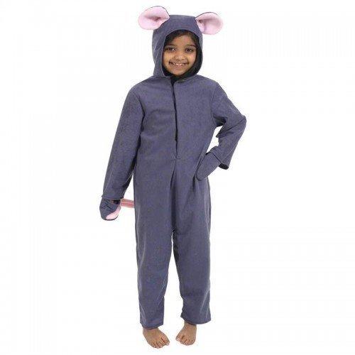Ratte Kostüm Ohren - Fancy Me Jungen Mädchen Kinder Deluxe grau Maus Ratte Einteiler Tier büchertag Kostüm Kleid Outfit 4 bis 10 Jahre - grau, 4-6 Years (116cms)