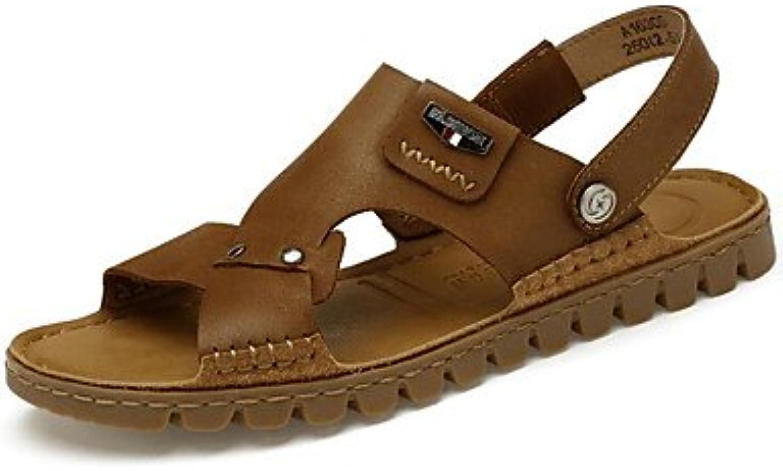 les hommes de vache été marchant chaussures chaussures chaussures sandales, printemps été du confort des sandales pour us11 / eu44 oc cas ionnel Marron  kaki,...b07cwq4gdb parent bf5909