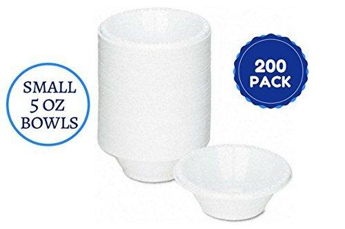 homeygear Einweg weiß kleine 5Oz Kunststoff Schalen Teller für Wüsten, Bonbons, Kunst und Handwerk und alles andere 200CT 5 oz Bowls weiß (Einweg-bonbons)