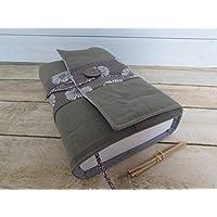 Protège livre fait main, couverture livre format littéraire roman, couvre livre en tissu kaki gris, cadeaux voyage, cadeau noël, cadeaux maitresse