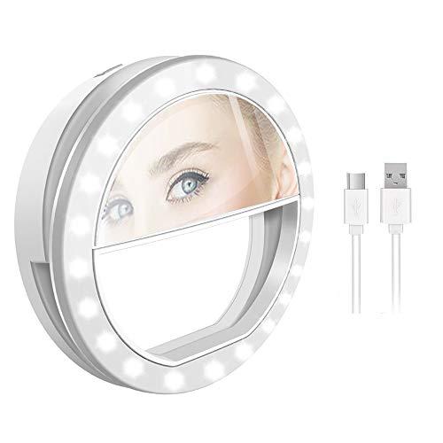 2. Ourslife Selfie Lumière,Selfie Ring Light Selfie Anneau Lumière avec lumière LED pour caméra, Alimenté par USB 3 Niveaux de luminosité réglable Lumière vidéo, Lumière de Nuit pour Smartphone