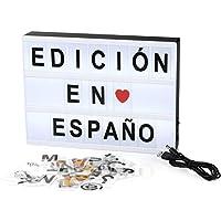 PAVLIT Cinematográfica Light Box Tamaño A4 con Letras de Alfabeto Español, 101 Cards, Decoración Casa
