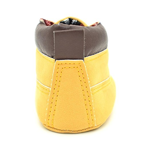 BZLine® Baby Kleinkind weiche Sohle Leder Schuhe Boy Girl Sneaker Schuhe Gelb