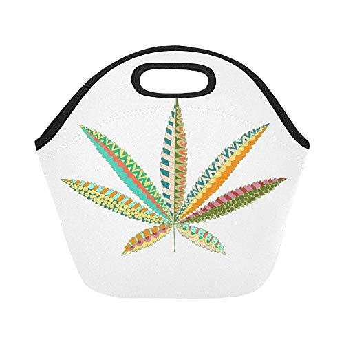 nch-Tasche Hanf-Hanfblatt-Zentangle-Art-Marihuana-große wiederverwendbare thermische starke Mittagessen-Einkaufstaschen für Brotdosen für draußen, Arbeit, Büro, Schule ()