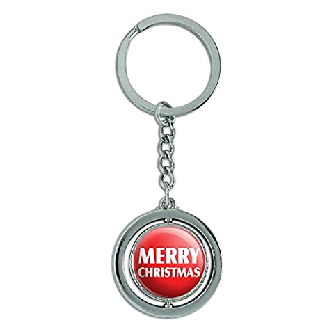 Merry Christmas Bold Spinning rund Metall Schlüsselanhänger Schlüsselanhänger