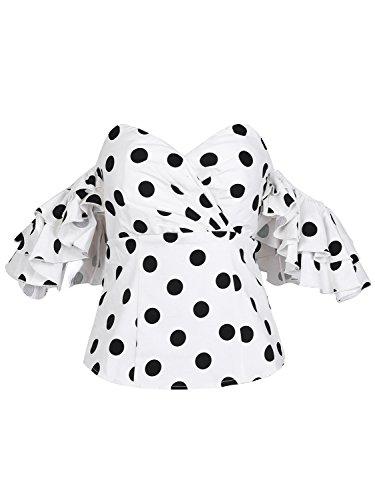Missy Chilli Damen Tops Elegant Sommer Off Shoulder Kurzarm Punkte Retro Bluse Oberteile Weiß