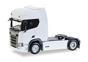 Herpa 307185-Vehículo, Scania CR20HD Tren eléctrica, Color Blanco
