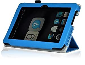InventCase Amazon Kindle Fire HDX 7 Tablet (7 inch - 3rd Generation) 2013 Smart Multi-Functional PU Leather 3-Fold Case Cover with Sleep Wake Function - Light Blue