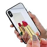 Misstars Miroir Coque pour iPhone X/iPhone XS, Luxe Élégant Housse Etui de Protection Ultra Mince PC Dur Arrière + TPU Souple Cadre Bumper Antichoc Anti Rayure pour Apple iPhone X/XS / 10 (5,8')