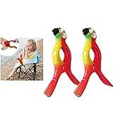 FunMove Papageien-Handtuchclips groß Neuheit Sonnenbett Strand Wäscheklammern Sonnenliege für Urlaub Stuhl Pool 2 Stück