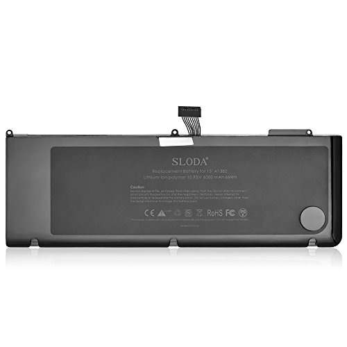 SLODA compatibile con batteria per laptop Apple MacBook A1382 A1286 (SOLO per early2011, Fine2011, metà 2012) Unibody MacBook Pro 8.2 9.1 15 '' A1382 Batteria di ricambio [Li-Polymer, 10.95V 7200mAh]