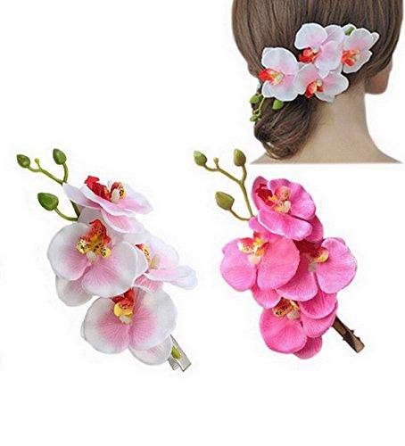 Elegante-Pelo-Flores-Flor-Orqudea-Flores-pelo-Clips-Pack-de-2-Color-blanco-y-rosa