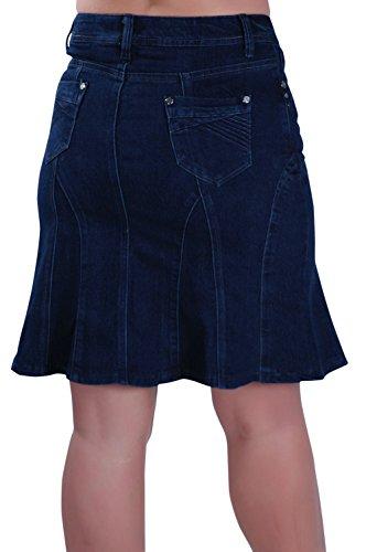 Eye Catch - Mesdames Court denim Mini Aux femmes évasée jupe Denim Bleu
