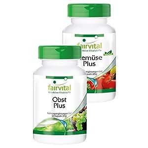Obst und Gemüse Plus - 120 Kapseln - vegan - hochwertiges Obst-Pulver und Gemüse-Pulver mit Enzymen und wohlwollenden Kulturen - Multivitamin