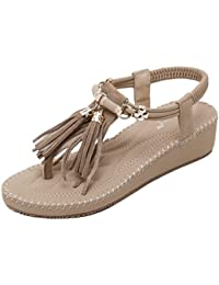 Womens Strand Sandalen Runde Clip Toe Bead elastische T-Strap Sommer Sandalen Flip Flops flache Schuhe Thongs ( Color : Apricot , Größe : 35 )