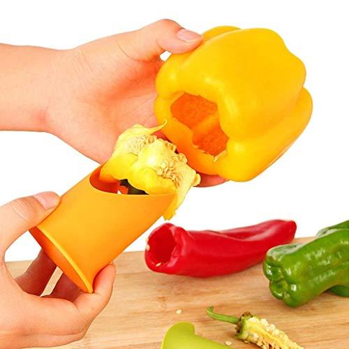 Vektenxi Premium Qualität 2 Teile/Satz Multifunktions Grüner Paprika Chili Core Separator Gerät Kunststoff Tomaten Obst Gemüseschneider Küche Toolsute Gelb