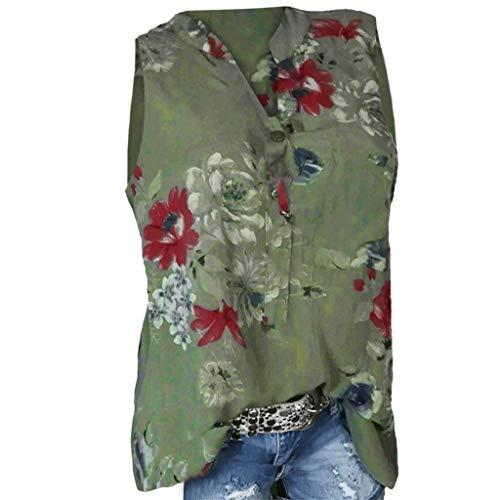 POPLY Frauen Große Größe Top Damen Drucktasche Kurzarmbluse Bohemian Lässige Shirt Plus Size Taste Hemd(Z-Grün-Vest,S) (Plus Größe Tank-tops Mit Totenköpfen)