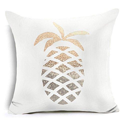 dragonaur Vergoldung Muster Gedruckt Werfen Kissen Fall Sofa Kissenbezug Home Decor, Polyester, 4, #4 Gold Pineapple