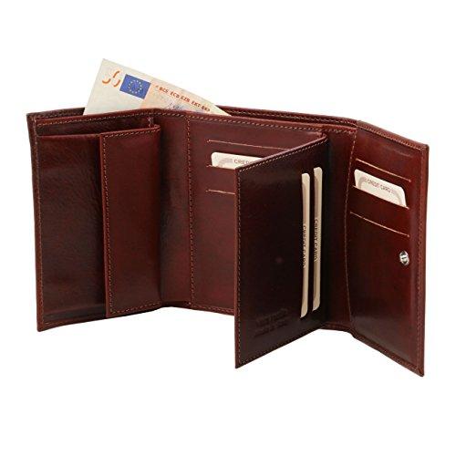 Tuscany Leather - Esclusivo portafogli in pelle da donna 4 ante Marrone Portafogli donna in pelle Rosso