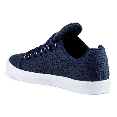 FiveSix Herren Sneaker Sportschuhe Schnürschuhe Muster Freizeitschuhe Low Top Schuhe Dunkelblau