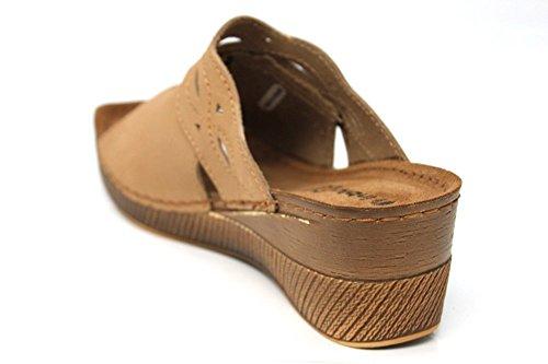 INBLU Femme Mule en cuir Wedge plate-forme d'été Sandales Taille 3–8 Marron