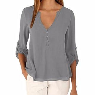 Ai.Moichien Women V Neck Cuffed Long Sleeve Button Down Solid Color Plus Size Tops Loose Chiffon Shirt Blouse S-5XL