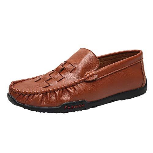 Herren Bootsschuhe Soft Hollow Moccasins Business Lederschuhe Slip-On Driving Loafers rutschfeste Freizeitschuhe Flache Bequeme Schuhe, Brown (Perfekte Passform Fußwärmer)