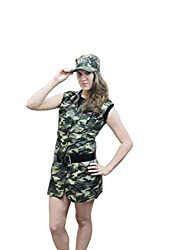 Vogueland Womens Sexy Army Girl Fancy Dress Belt Hat Full Costume Camouflage Dogtag S-L