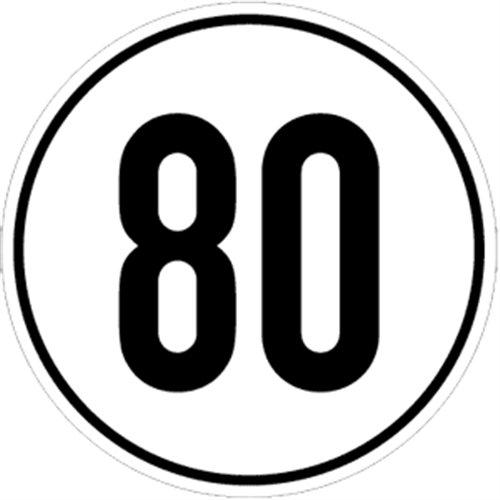 Schild Geschwindigkeitsschild, 80 km/h, Alu, Ø 20 cm