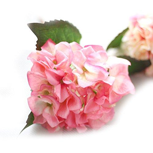QHGstore Fiori Ortensia fiore di cerimonia nuziale seta artificiale reale-like Home Decor rosa 1 pz
