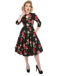 43084c1fe2 Hearts   Roses London Valentine Vintage Retro 1950s Floral Rose Flared Tea  Dress