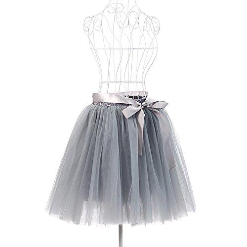 Dorchid donne vintage Puffy tutu gonne Tulle Self tie libero vita sottoveste 50cm (17 colori) Gray