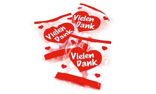 Preisvergleich Produktbild Vielen Dank Herzen 6, 5g als Wurfmaterial,  für Kindergeburtstag und Büro,  100er Pack (100 x 6, 5g)