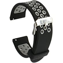 Runtenic 20mm Gear S2 / Pebble Time Banda Soft Silicone Replacement Sport Band Correa para Samsung Galaxy Gear s2 Classic SM-R7320 / LG G / Motorola Moto 360 2 42mm / Garmin Vivomove Classic / Sport / Huawei Watch 2 Smart Watch (Black Grey)