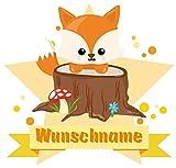 Samunshi® Süßer Fuchs Aufkleber mit Namen Autoaufkleber Namensaufkleber Kinder in 7 Größen (20x17,5cm Mehrfarbig)