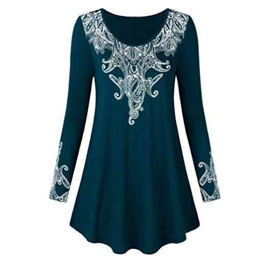 Oliviavan,Frauen Fashion O-Neck Long Sleeves Floral Gedruckt Plus -