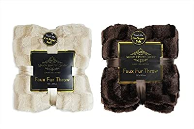 Faux Fur Throw Blanket Fleece Soft Comfort Sofa Bed Beige Brown 130 x 180cm produced by RSW - quick delivery from UK.