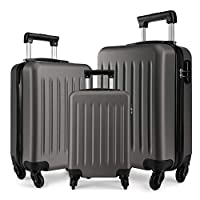 """Kono Luggage Set of 3 PCS Lightweight ABS Hard Shell Trolley Travel Case with 4 Spinner Wheels 19"""" 24"""" 28"""" Suitcases (V Grey Set)"""