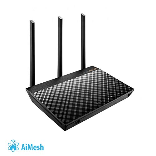 Asus RT-AC66U B1 Router (Ai Mesh WLAN System, WiFi 5 AC1750, 4x Gigabit LAN, App Steuerung, AiProtection, USB 3.0) - Band Dual Wireless Ac1750 Router