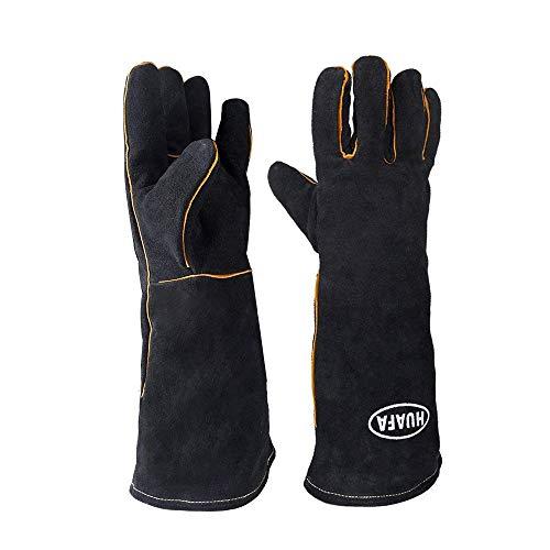Grillhandschuhe (1 Paar), Leder Hitzefeste BBQ Handschuhe von HUAFA, lang, in Universalgröße, Ofenhandschuhe, Kaminhandschuhe, Kochenhandschuh für Barbecue, Küche, Backofen, Mikrowellenherd (Schwarz)
