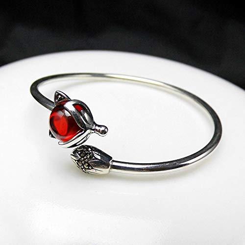 Angelazy Armreif Für Frauen Sterling-Silber 925,Fashion Vintage Einstellbar Einfache Rote Granatapfel Fox Tier Form Armreif Für Damen Kleid Match