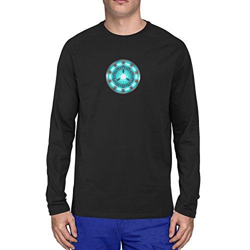 Buch Comic Einfach Kostüm Figur - Arc Reactor - Herren Langarm T-Shirt, Größe: L, Farbe: schwarz