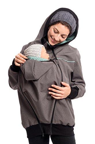 Viva la Mama - Umstandsjacke Herbst Winter warm Softhshell Mama und Baby Jacke zum Tragen - Jacky - grau-Mint - S Baby Winter Jacke