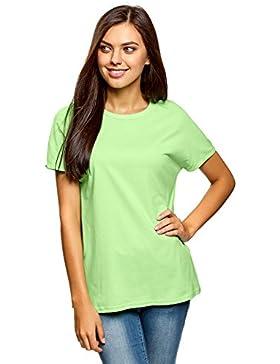 oodji Collection Mujer Camiseta Básica de Algodón